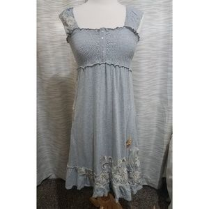 Johnny Was JWLA gray smocked embroidered dress S